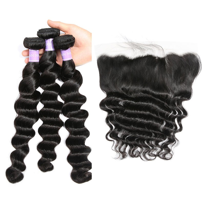 DSoar Brazilian Loose Deep Wave Hair 3 Bundles And Frontal Virgin Hair