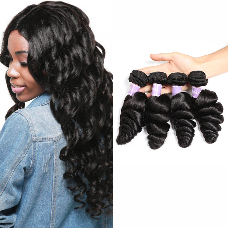 DSoar Hair Brazilian Loose Wave Virgin Human Hair Natural Black
