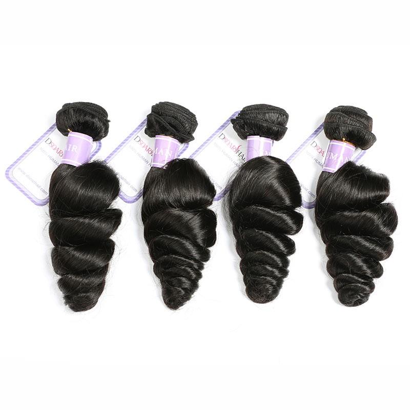 DSoar Hair Peruvian Loose Wave Virgin Human Hair Natural Black Color 4 Bundles