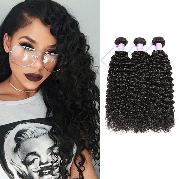 DSoar virgin Malaysian curly hair weave 3 bundles 8-26 inch