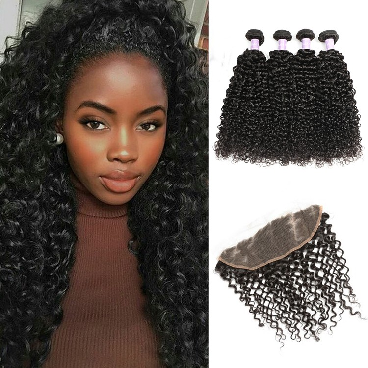 DSoar Malaysian curly hair lace frontal closure 13x4 with 4 bundles