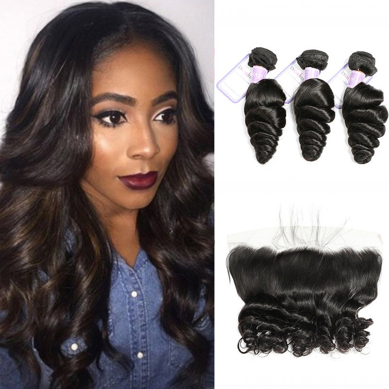 ar Hair Malaysian Loose Wave Hair 3 Bundles With Lace Frontal