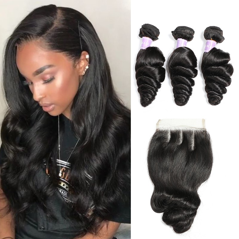 DSoar hair Malaysian loose wave human hair 3 bundles with closure 4x4 inch