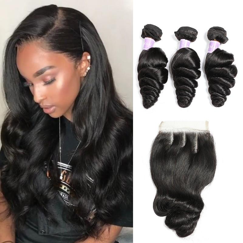 DSoar hair Malaysian loose wave human hair 3 bundles with closure 4x4 inch