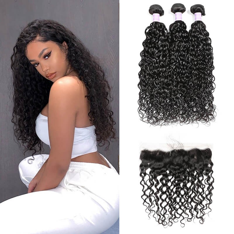 Natural Wave 3 Bundles And Lace Frontal