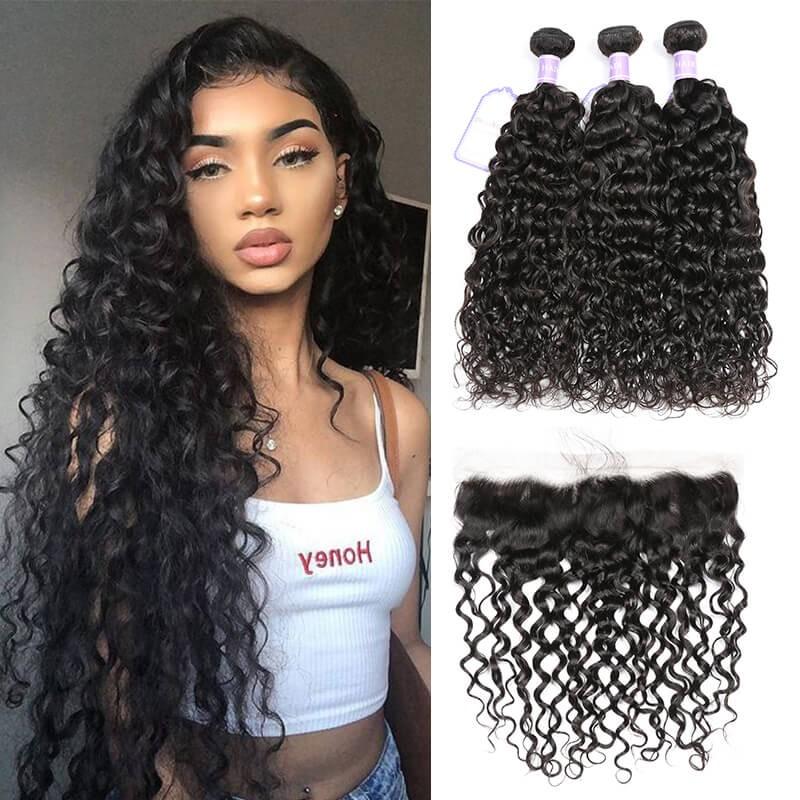 unprocessed virgin hair 3 bundles with frontal