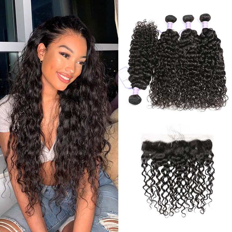 DSoar Hair Natural Wave Virgin Hair 4 Bundles With Lace Frontal