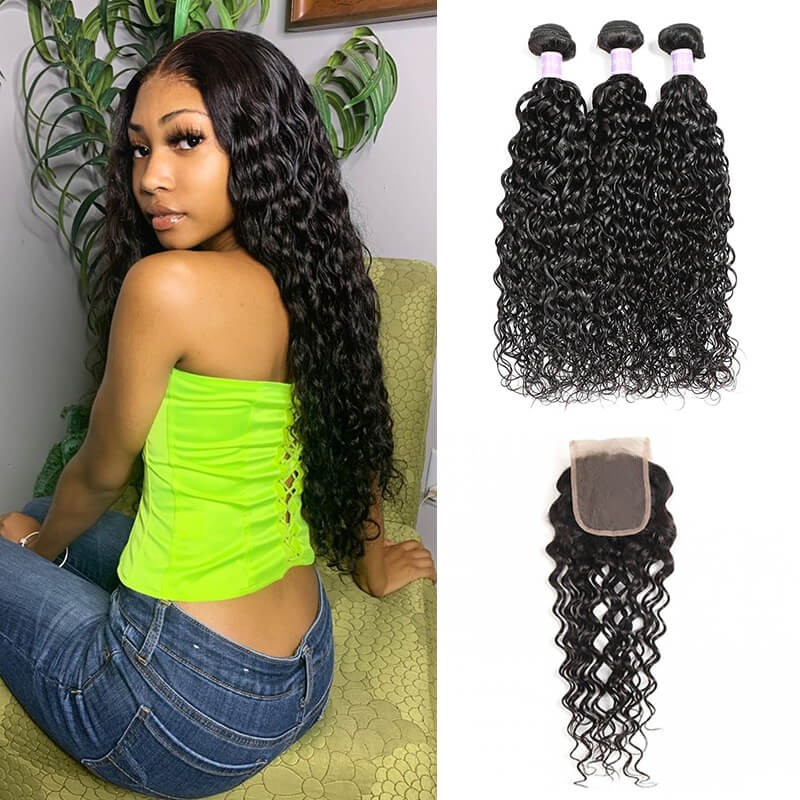 Peruvian Natural Wave Weave DSoar Hair 3 Bundles Deals With Lace Closure