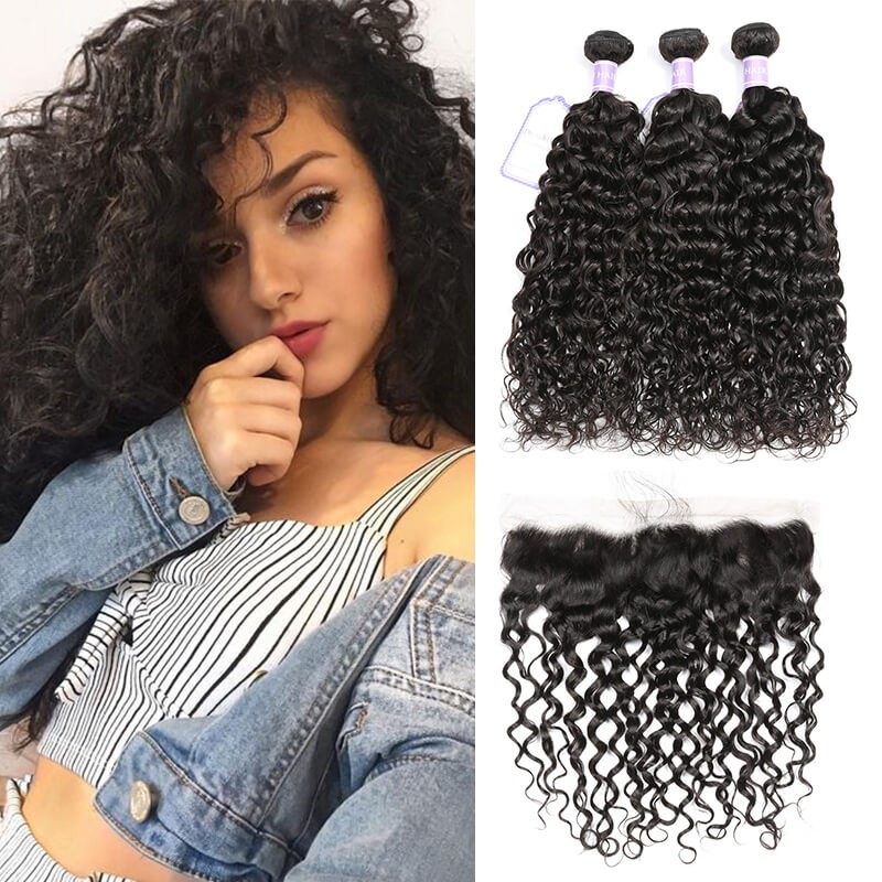 DSoar Hair Lace Frontal Closure And 3Bundles Deals Brazilian Natural Wave Hair