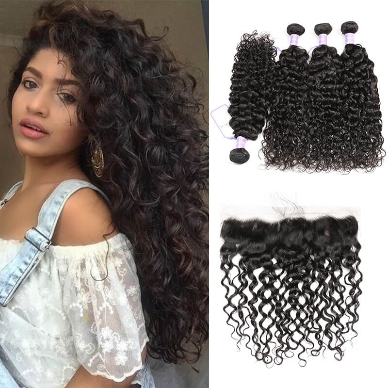 DSoar Hair Natural Wave Indian Remy Human Hair 4 Bundles With Lace Frontal