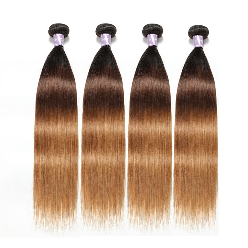 Brazilian Ombre Blonde Straight Hair 100 Remy Human Hair Wefts