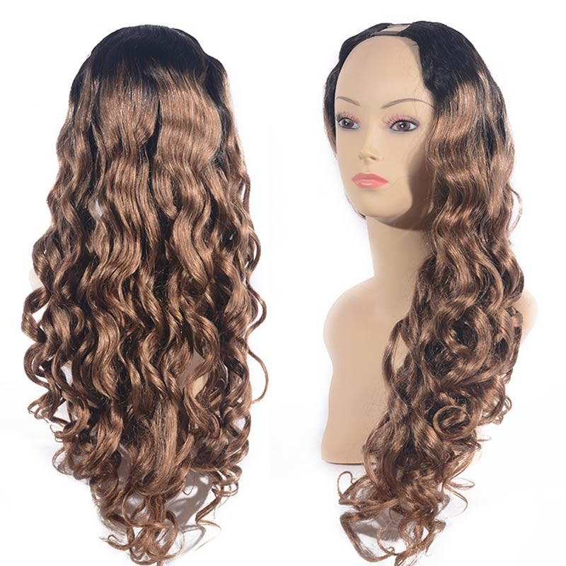 DSoar Hair Ombre U Part Wig Human Hair Loose Body Wave T1B27