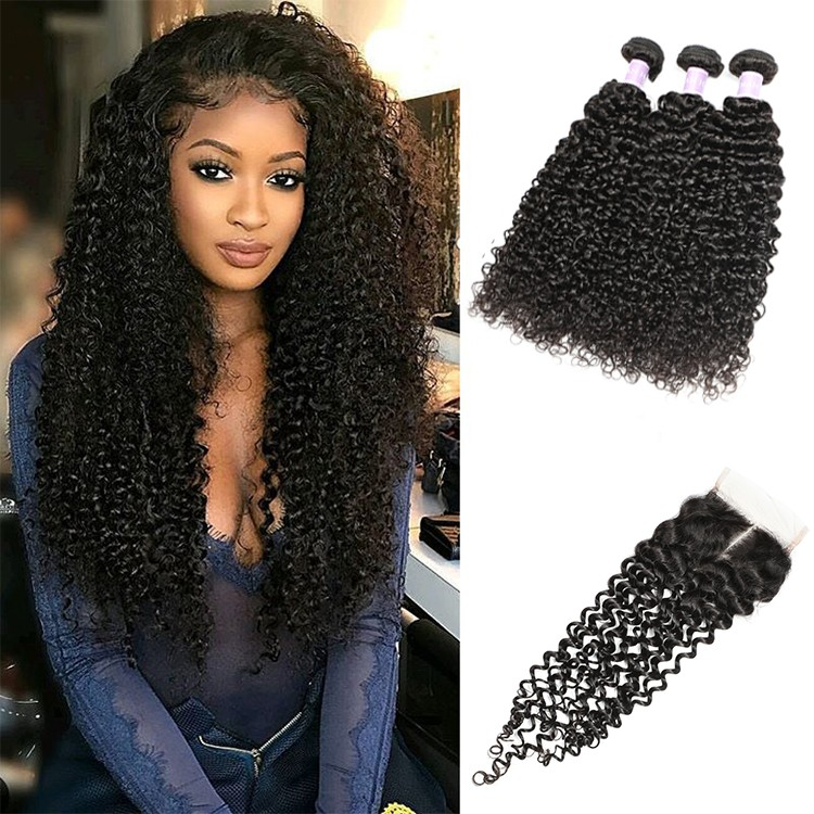 Peruvian Jerry Curly Human Hair With Lace Closure