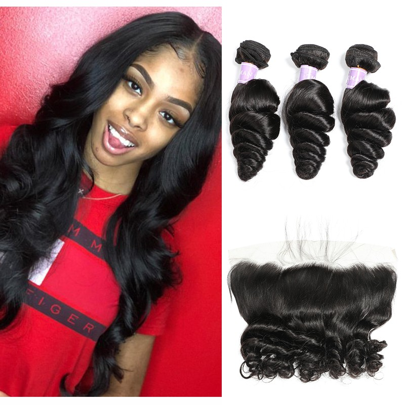 Dsoar Hair Peruvian Loose Wave Virgin Hair Lace Frontal With 3 Bundles