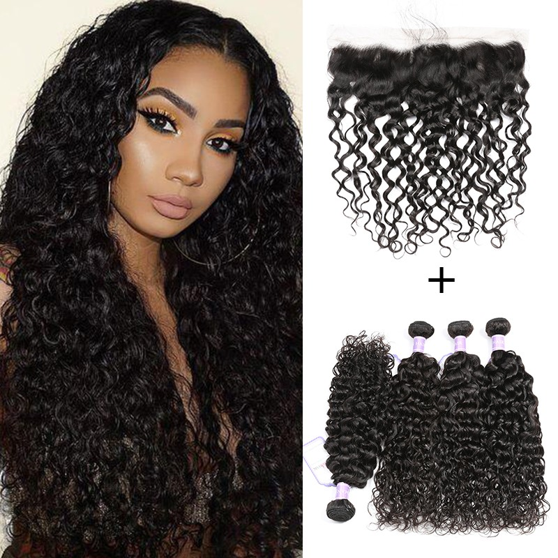 Malaysian Natural Wave 4 Bundles With Lace Frontal