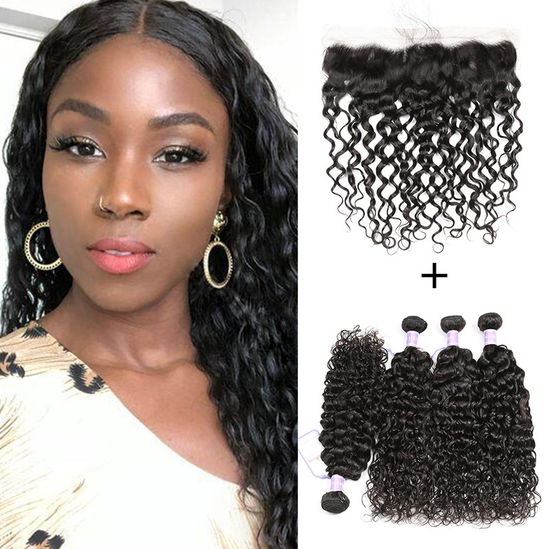 Brazilian Natural Wave Weave Bundles With Lace Frontal 13x4