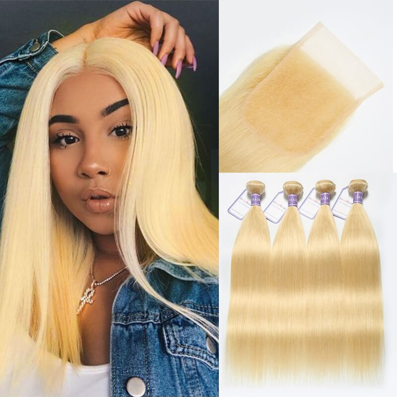 DSoar Straight Hair 613 Blonde Hair 4 Bundles With Lace Closure 4x4