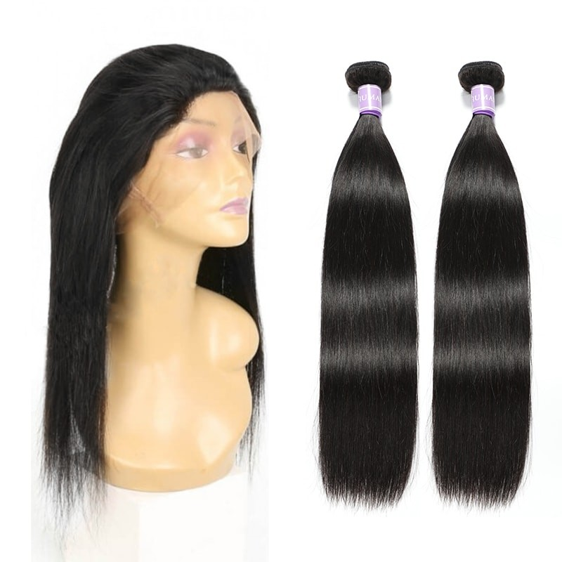 2 Bundles Straight Hair With 360 Lace Frontal