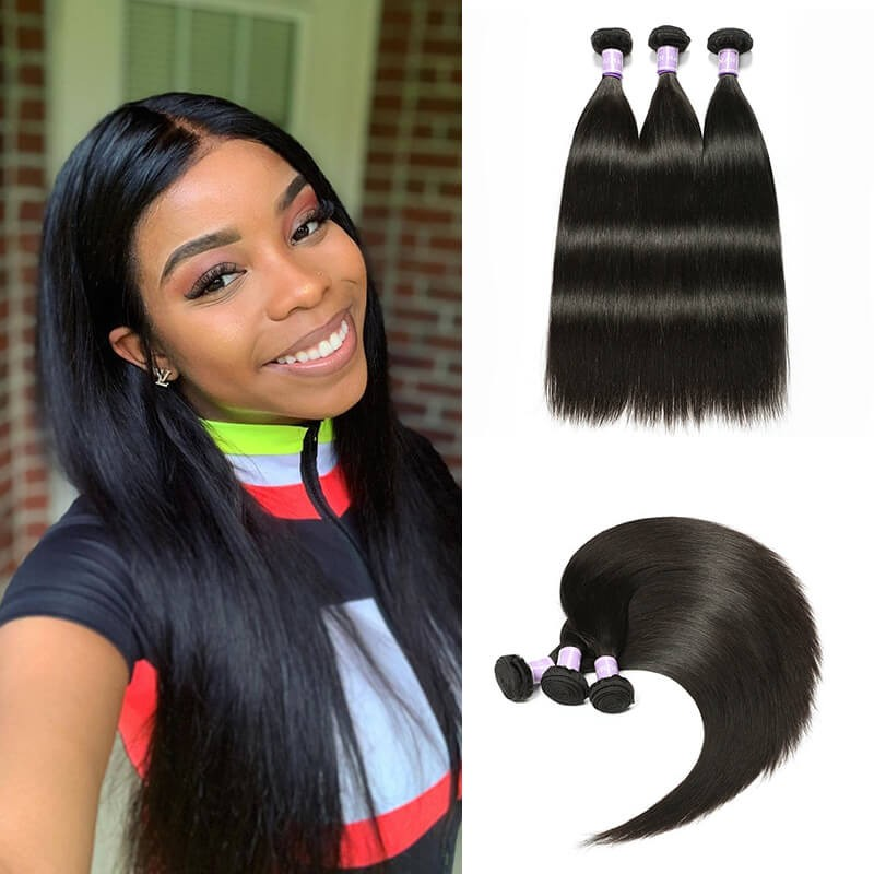DSoar Indian unprocessed Straight remy human hair weave 3 PCS 1B color