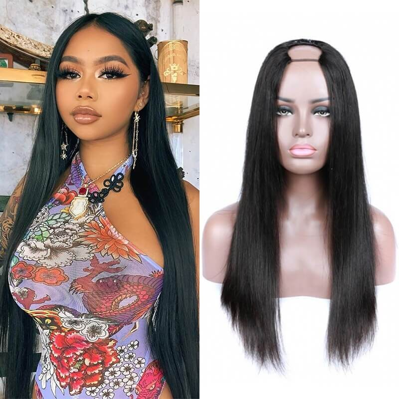 Dsoar Hair Long Straight U Part Wig Glueless Human Hair Wigs Natural Black Color
