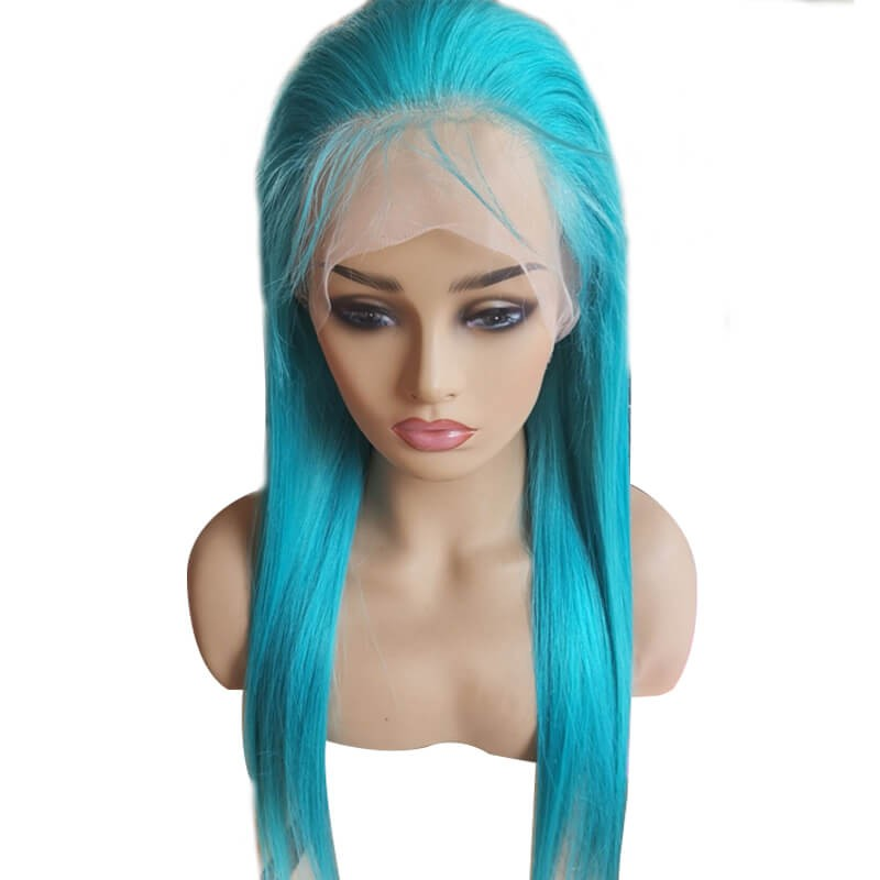 Blue Wig Lace Front Straight Free Part Human Hair Wig