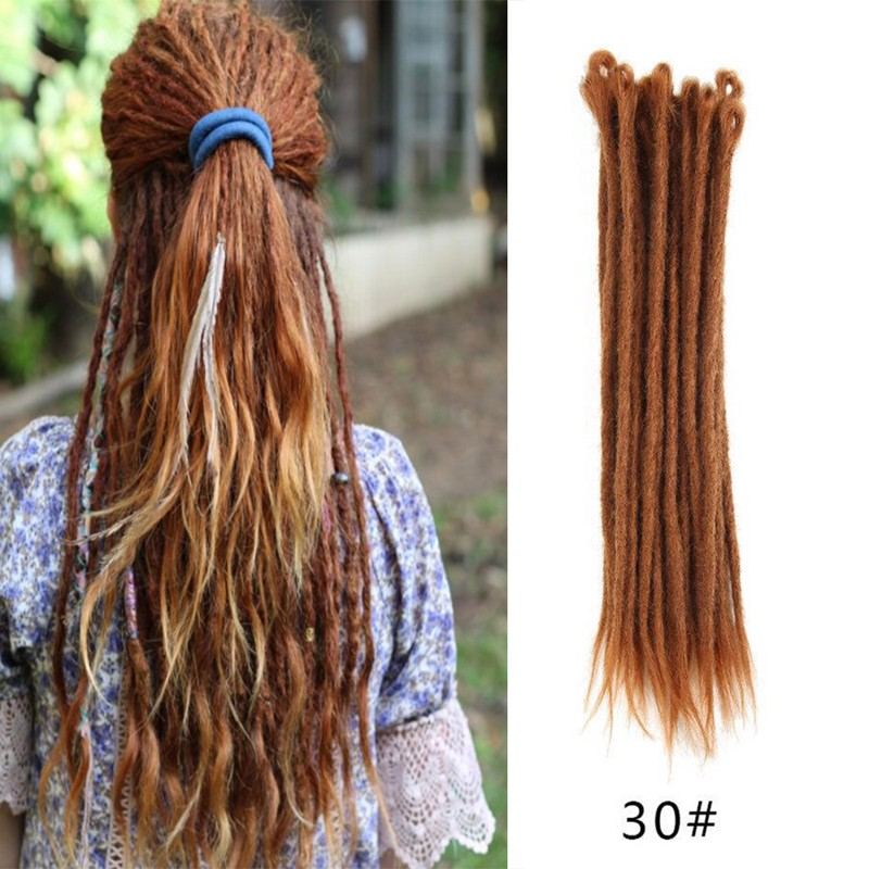 30 Strands Human Hair Dreadlock Extensions Synthetic Dreadlock