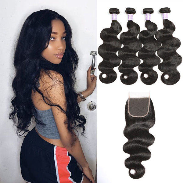 Indian Remy Body Wave Hair 4 Bundles With Lace Closure