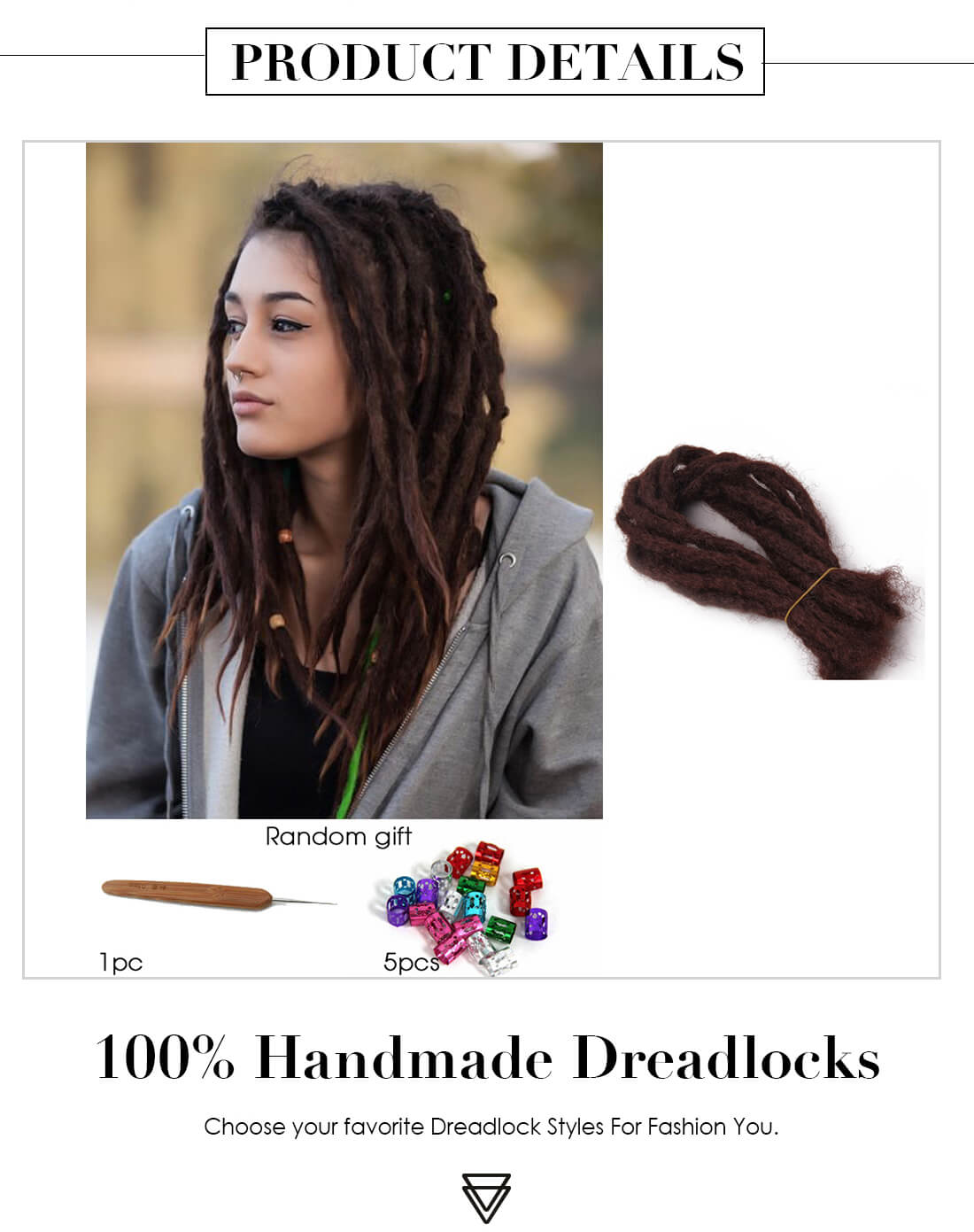 Dsoar Soft Dread Crochet Hair Fake Dreadlocks Extensions Synthetic