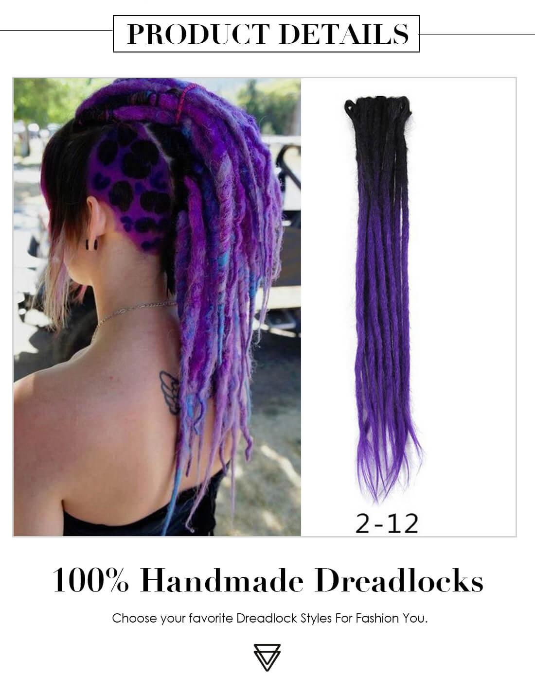 Black/Purple 2-12 Crochet Hair Dreadlock Extensions