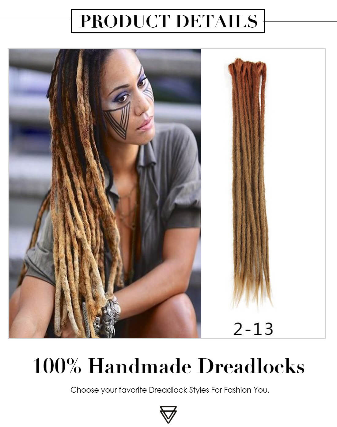 Ombre Brown 2-13 Synthetic Dreadlocks Extensions