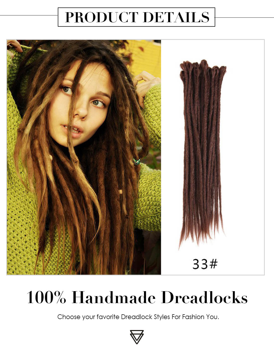 33# Chocolate Color Handmade Synthetic Dreadlocks Extensions