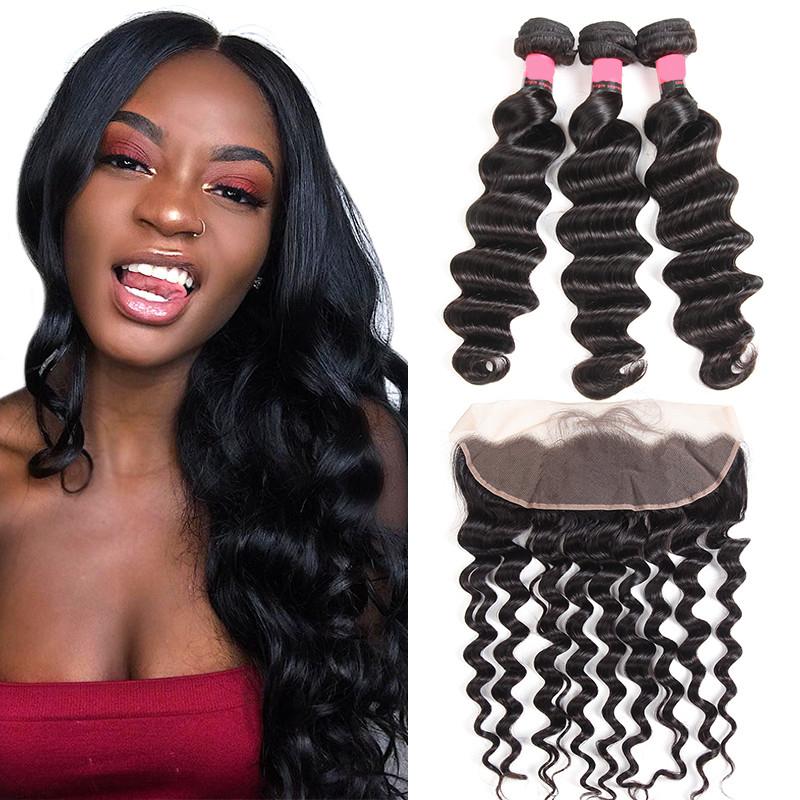 Loose Deep Wave Brazilian Hair Bundles 3pcs/pack