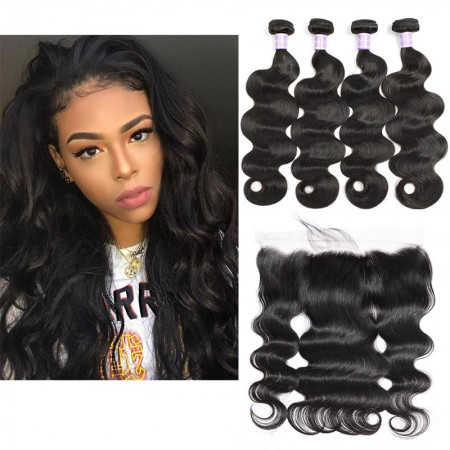 Brazilian Body Wave Human Hair Bundles With Closure