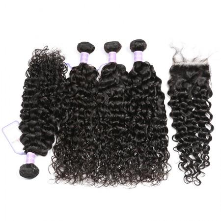 Brazilian Natural Wave Hair Lace Closure 4x4 With 4 Bundles