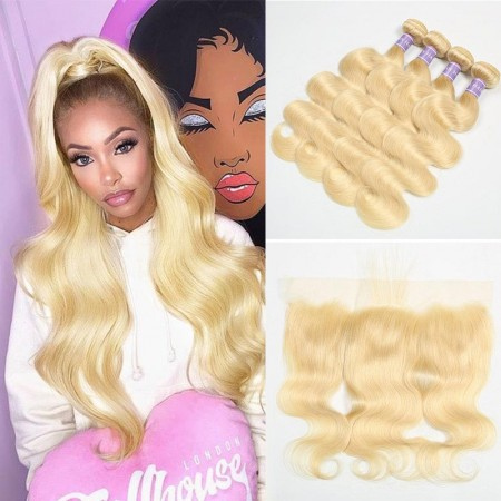 613 Blonde Lace Frontal Closure With 4 Bundles Indian Body Wave