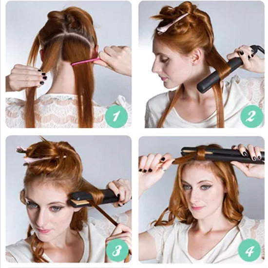 How to curl the body wave hair by a flat iron