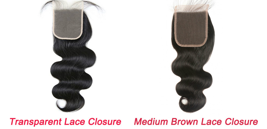 Transparent lace closure VS Medium brown lace closure