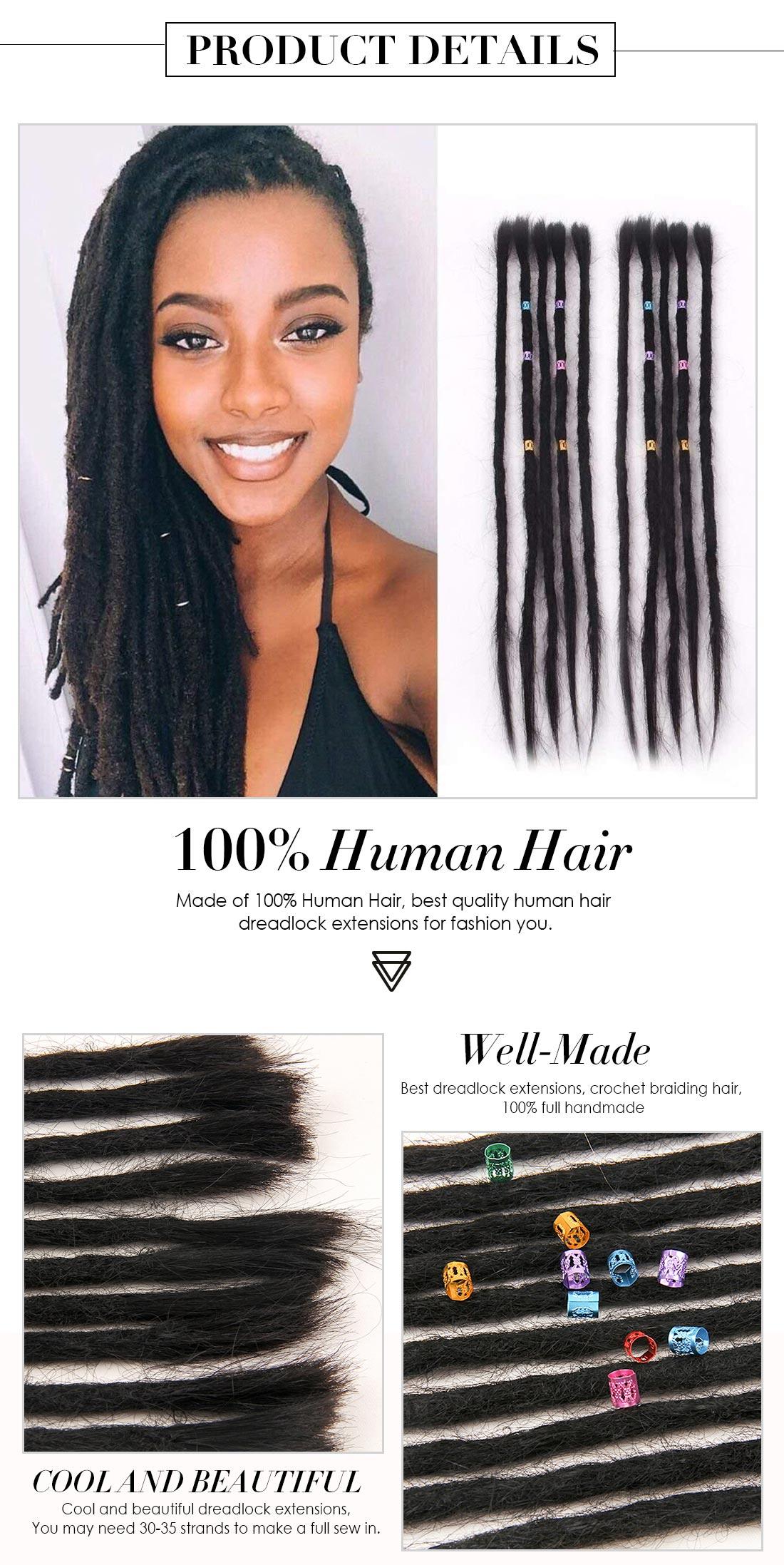Dsoar Human Hair Dreadlock Extensions Crochet Dreadlock For Women 20