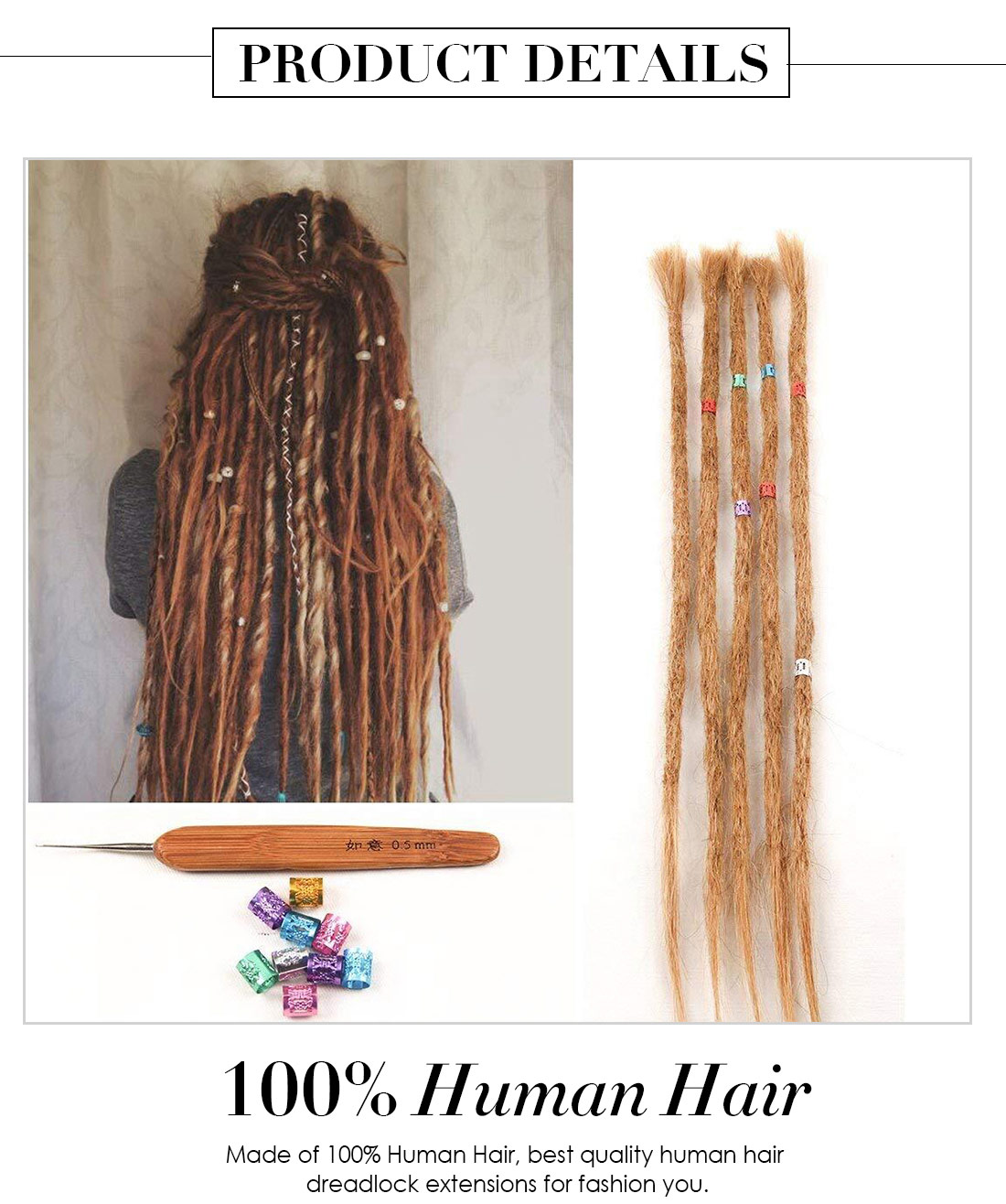 Dsoar Dyed Dreads 27 Light Brown Human Hair Dreadlock Extensions
