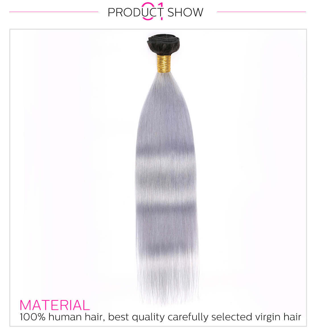 T1B/Grey Ombre Straight Hair Extension