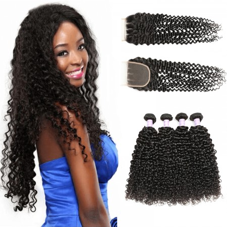 Malaysian curly hair bundles with closure