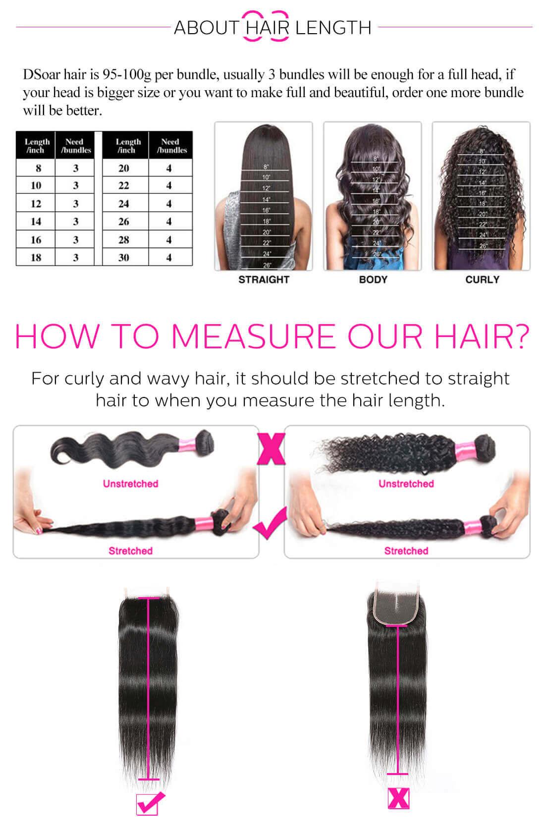 Virgin Human Hair Bundles With Closure