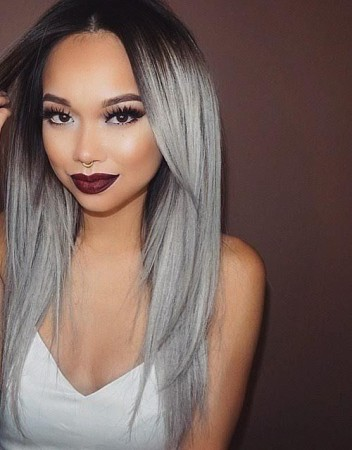 T1B/Grey Ombre Hair Color 1 Bundle Straight Human Hair