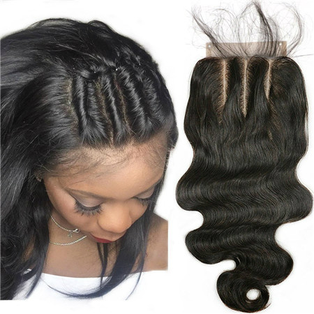 three part human hair closure