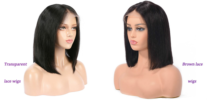 transparent lace wigs VS medium brown lace wigs
