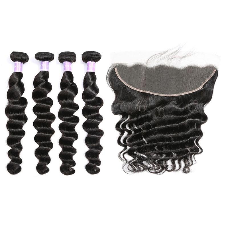 DSoar Hair Malaysian Loose Deep Wave Human Hair 4 Bundles With Lace Frontal
